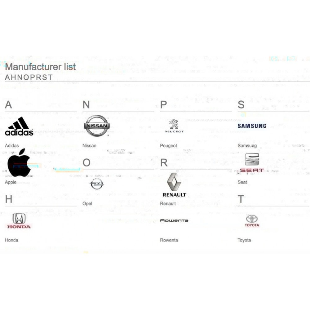 module - Brands & Manufacturers - Brands glossary ABC / alphabetical manufacturer list - 3