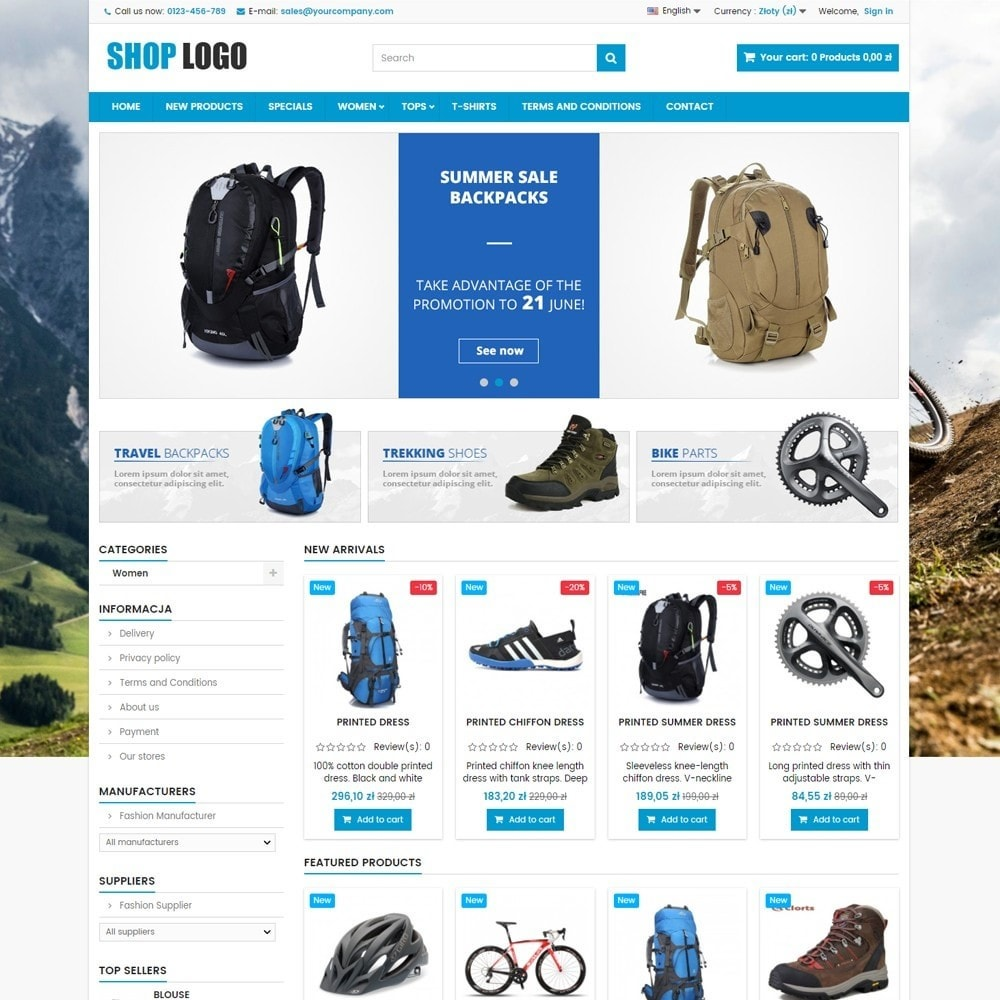 theme - Спорт и Путешествия - P16AT03 Bikes, sport and travel store - 1