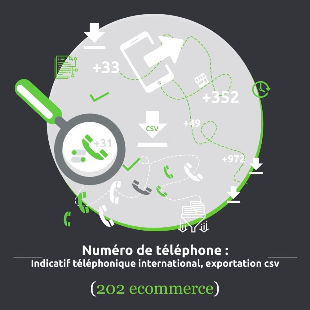 module - Import & Export de données - Indicatif téléphonique international, export csv - 1