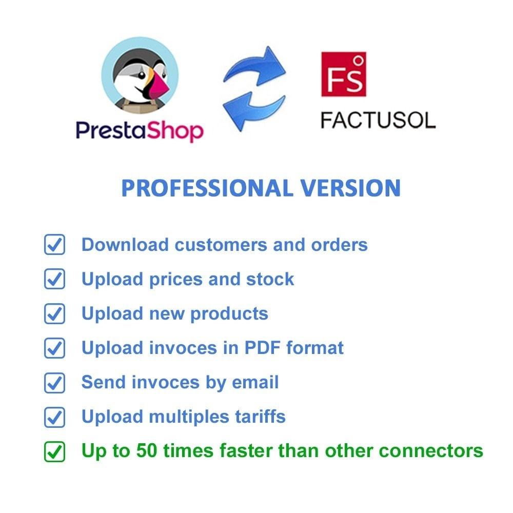 module - Third-party Data Integration (CRM, ERP...) - Professional FactuSOL Connector - 2