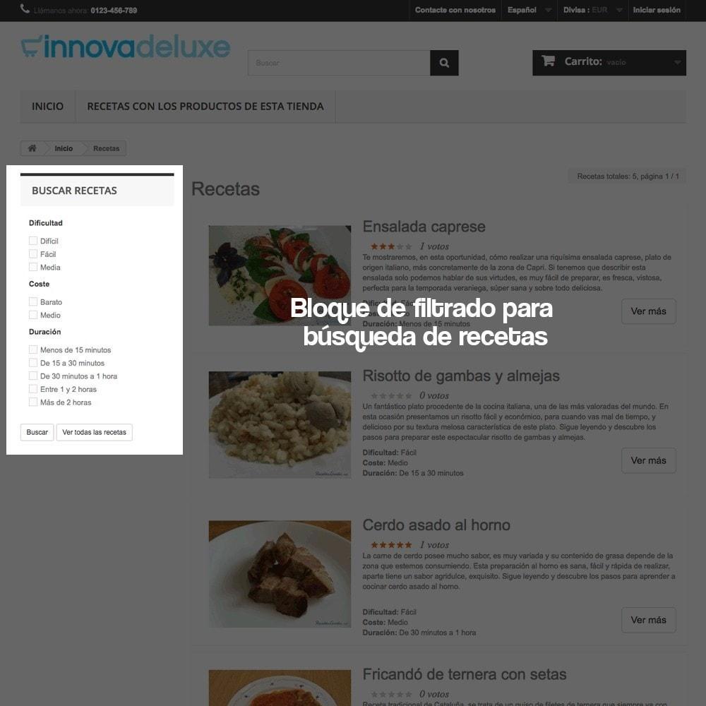 module - Blog, Foro y Noticias - Gestor de recetas con los productos de la tienda - 7