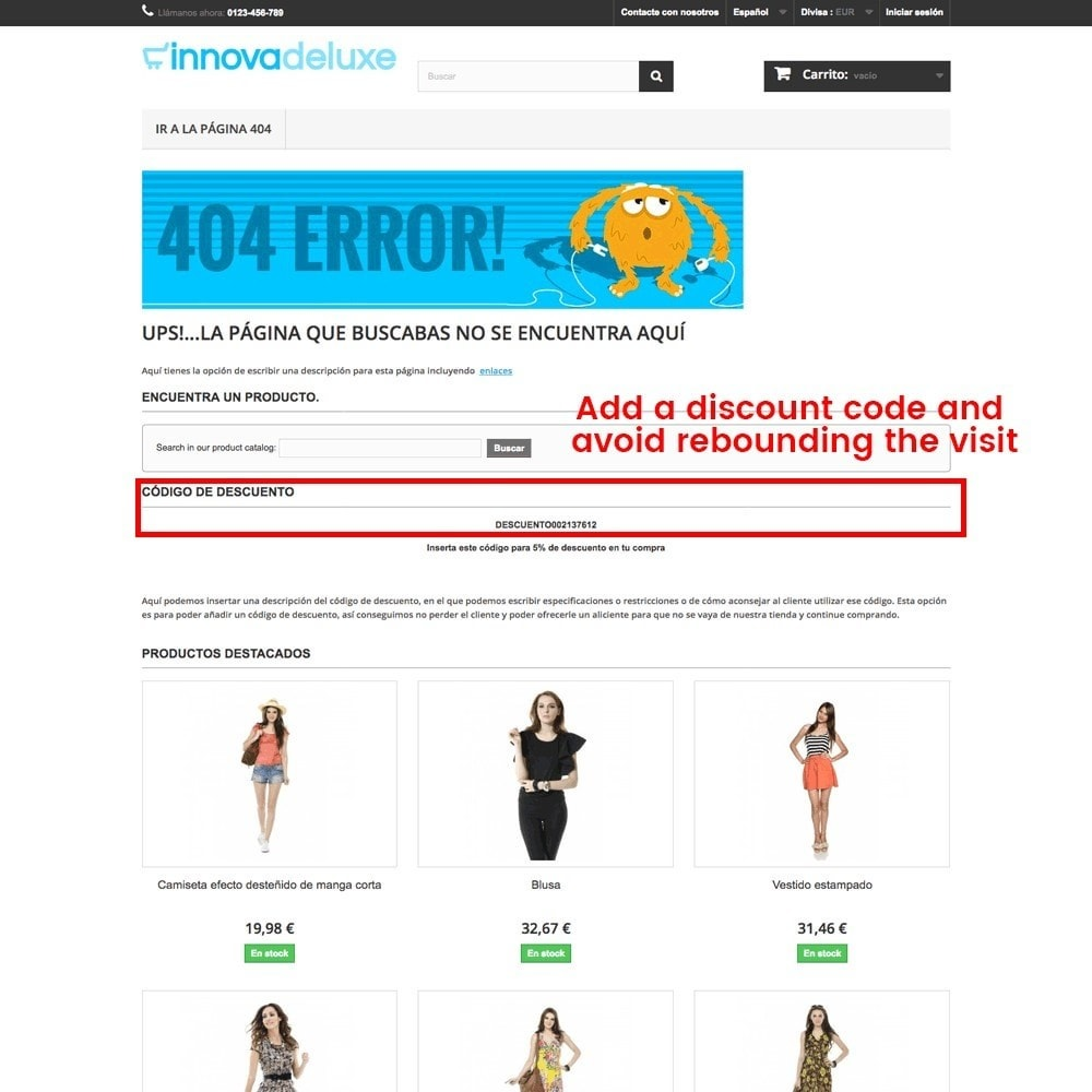 module - URL & Redirects - Customization of the 404 error page - 21