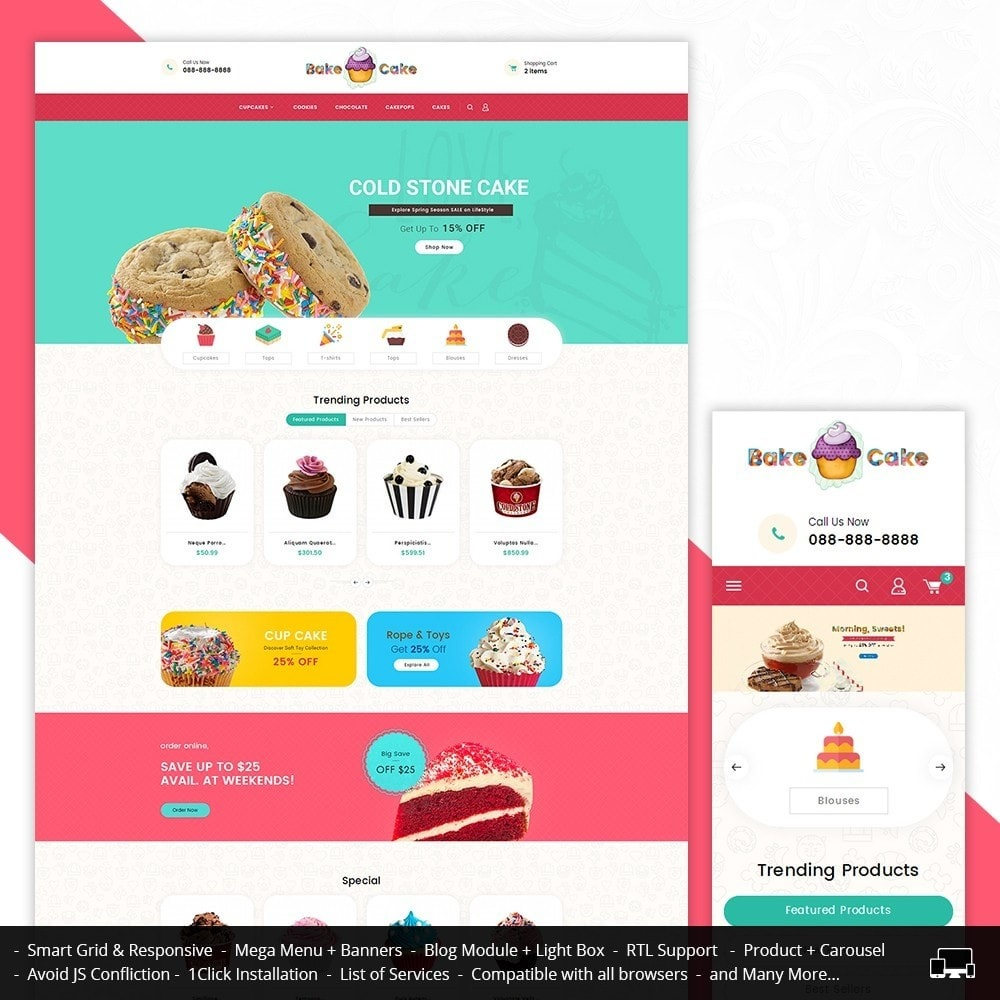 theme - Food & Restaurant - Cake Shop - 1