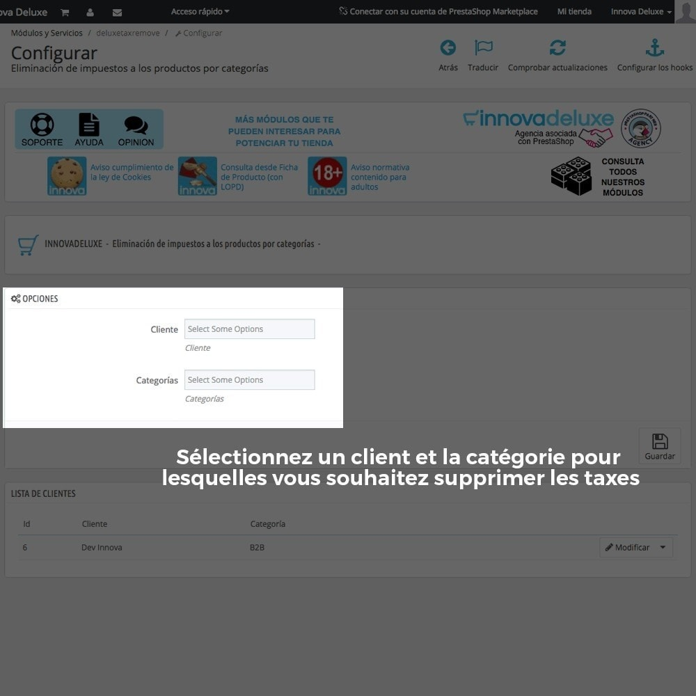 module - B2B - Suppression des taxes (clients/catégories) - 3