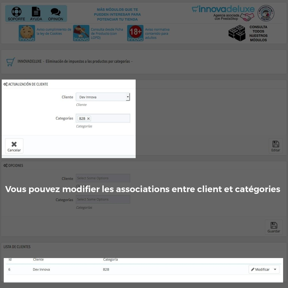 module - B2B - Suppression des taxes (clients/catégories) - 4