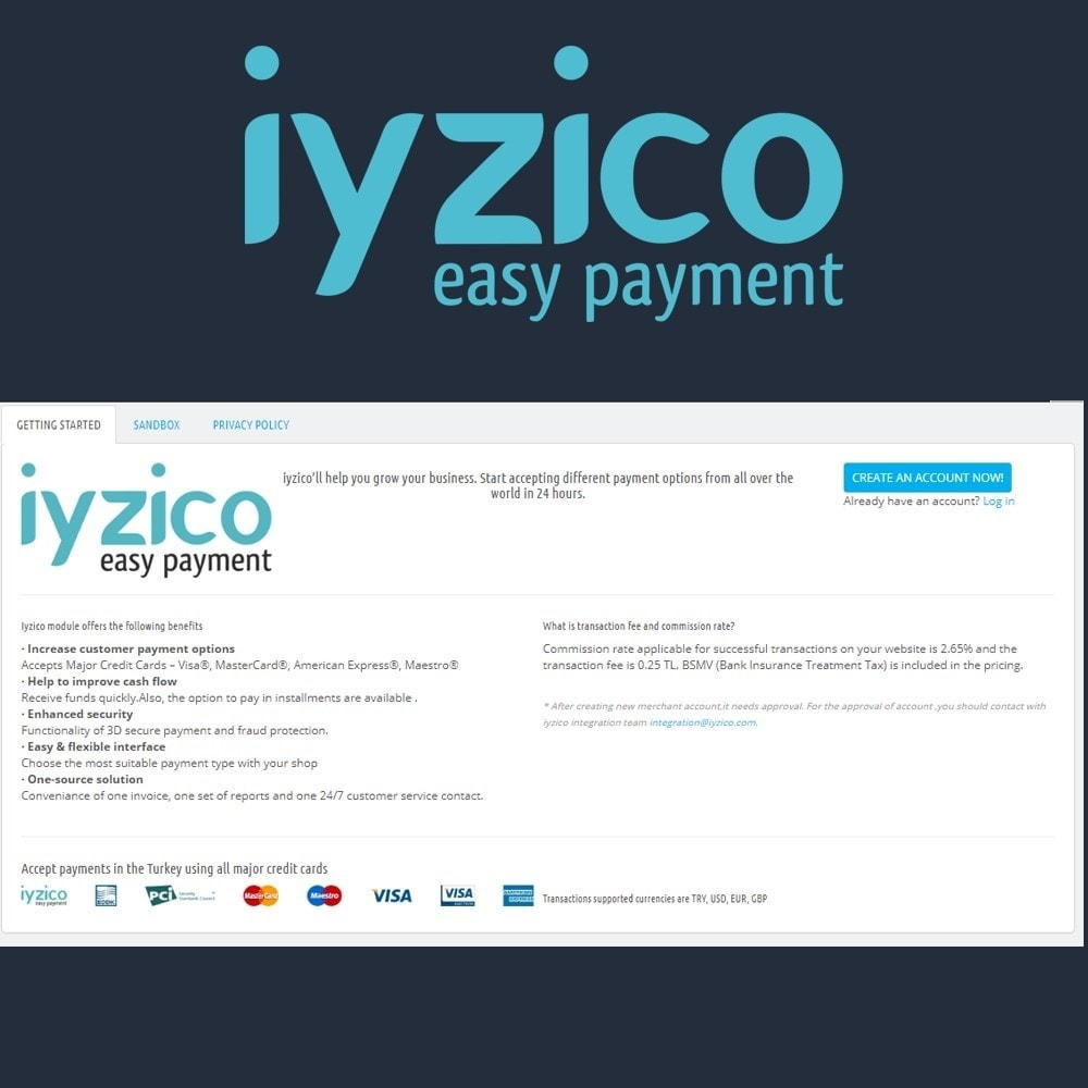 module - Payment by Card or Wallet - Iyzico Easy Payment Sanal POS for Turkey - 3