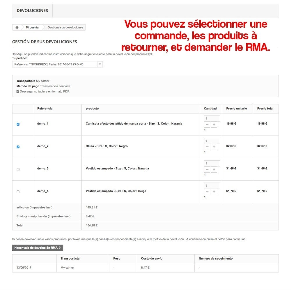 module - Législation - Retour des produits (Loi de défense du Consommateur) - 12