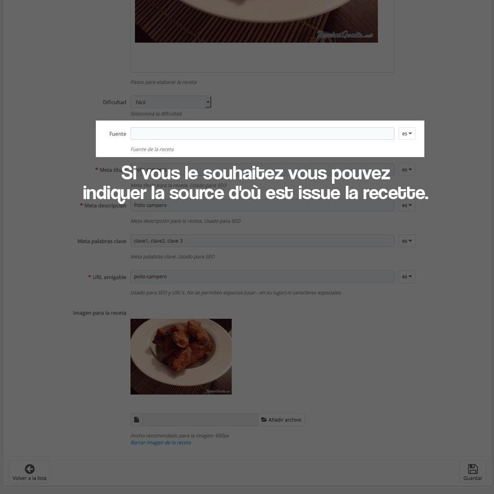module - Blog, Forum & Actualités - Gestionnaire de recettes avec des produits magasin - 25
