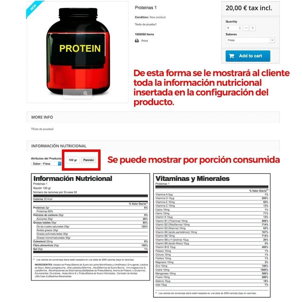 module - Informaciones adicionales y Pestañas - Información nutricional de los productos - 8