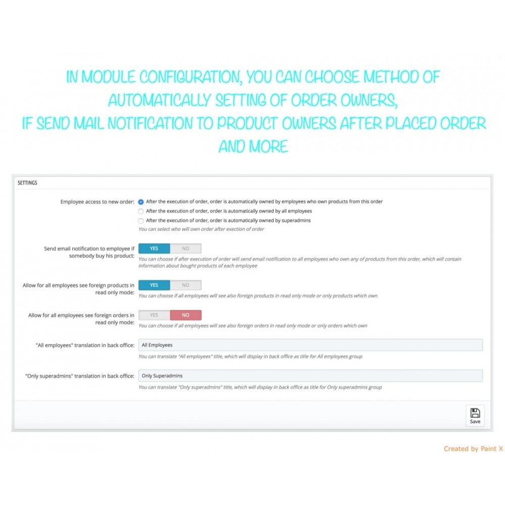 module - Auftragsabwicklung - Besitzrecht der Angestellten zu Produkten, Bestellungen - 2
