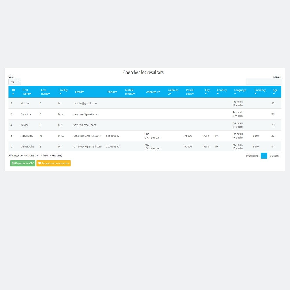 module - Import & Export de données - Export Remarketing (Segmentation Client) - 7