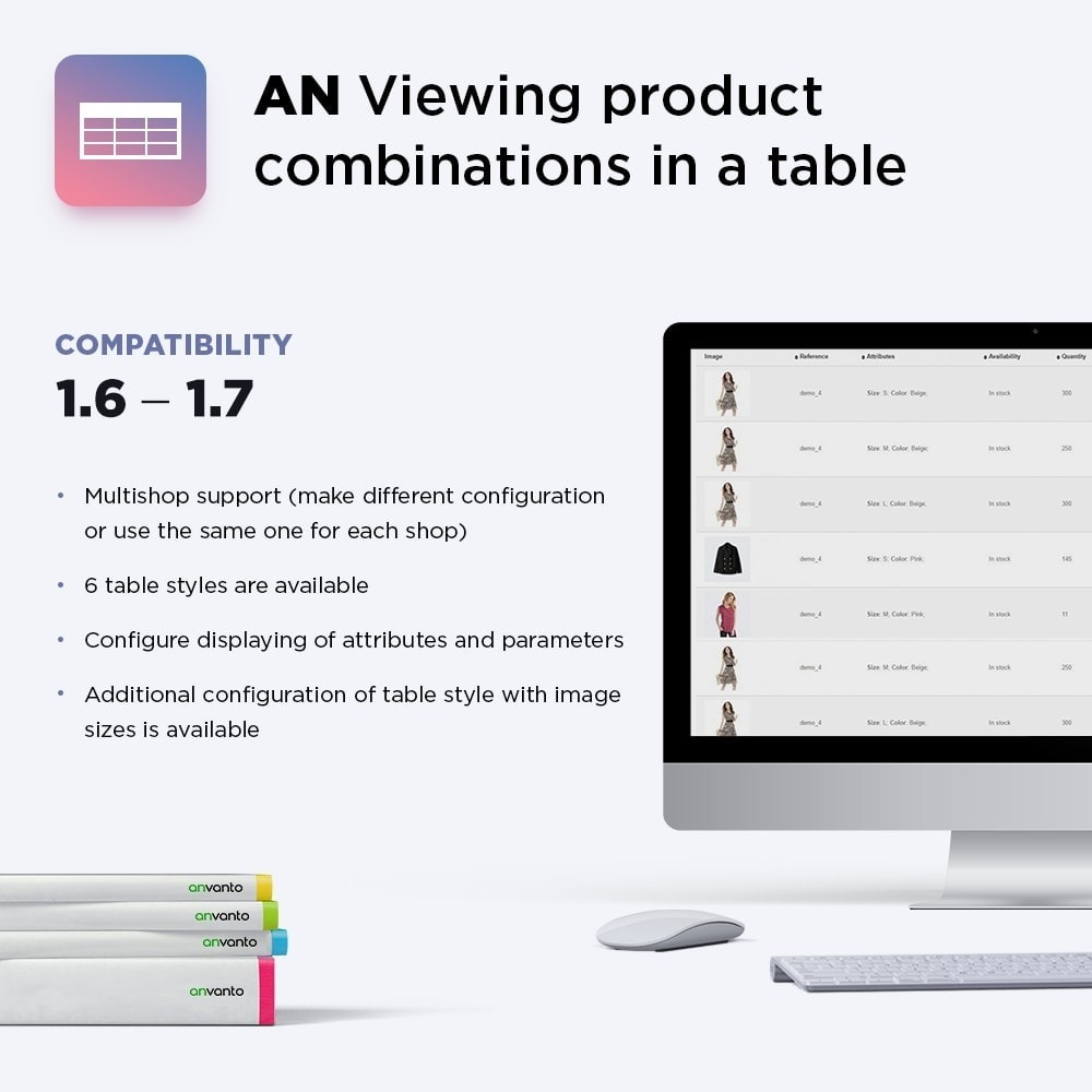 module - Altre informazioni & Product Tab - AN Display product combinations in a table - 1