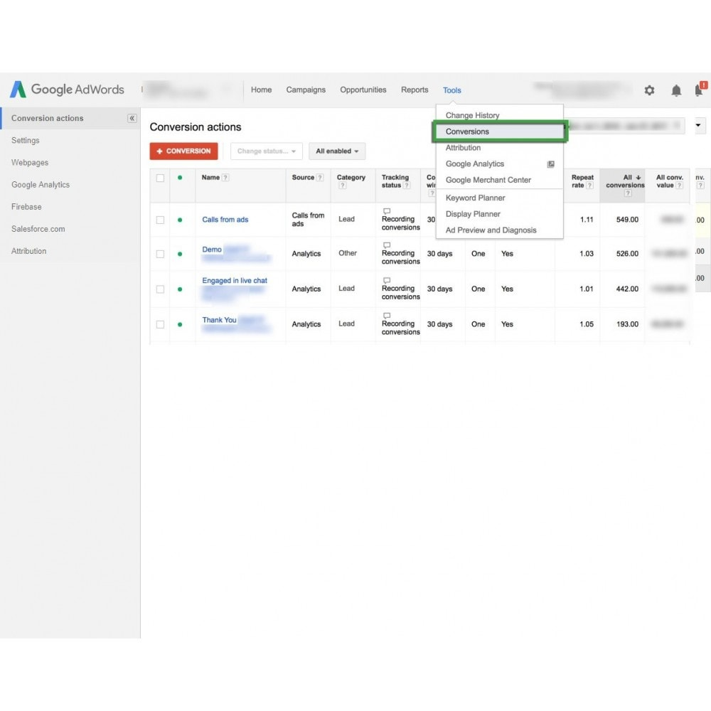 module - Informes y Estadísticas - Google Adwords Conversion Tracking - 3