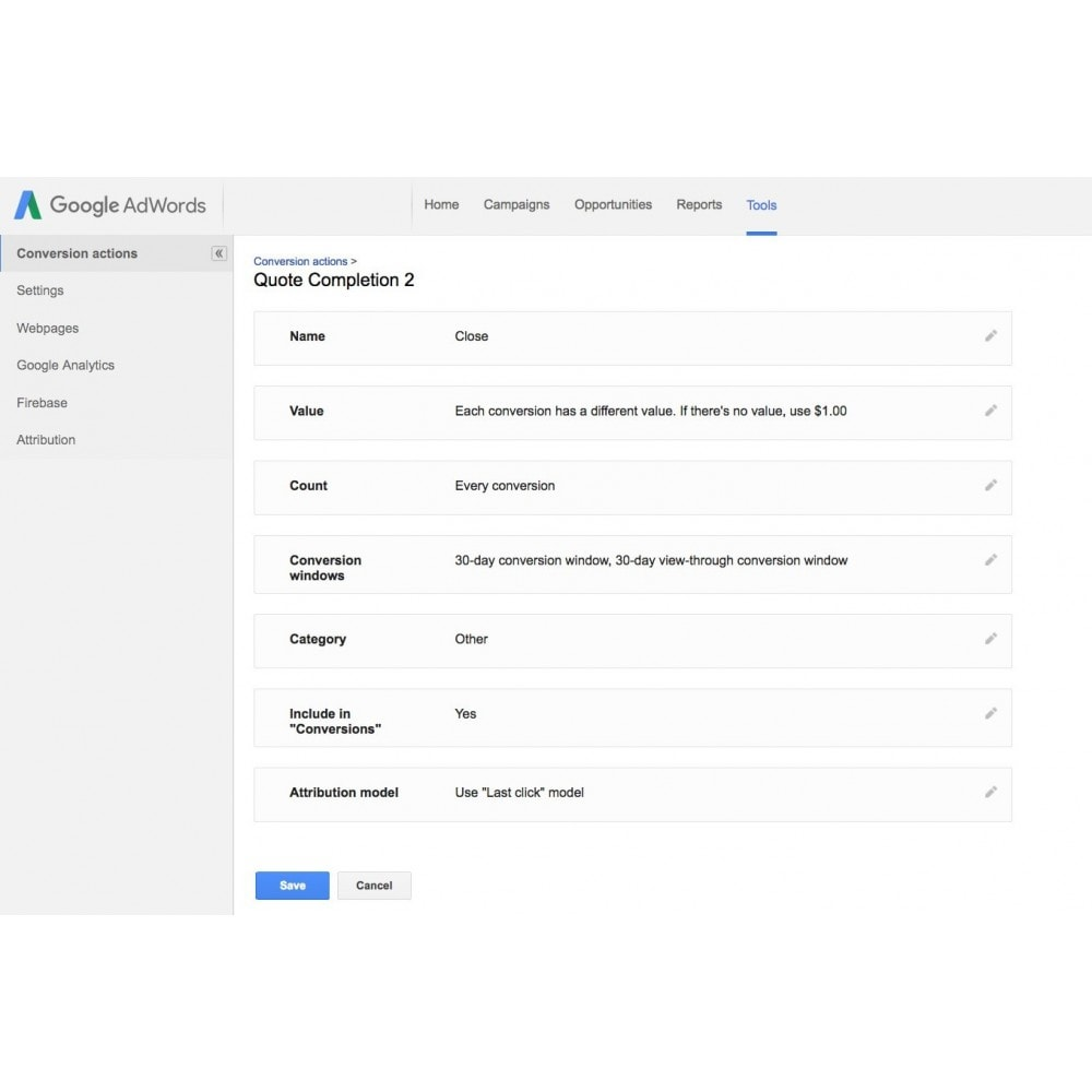module - Analyses & Statistieken - Google Adwords Conversion Tracking - 4