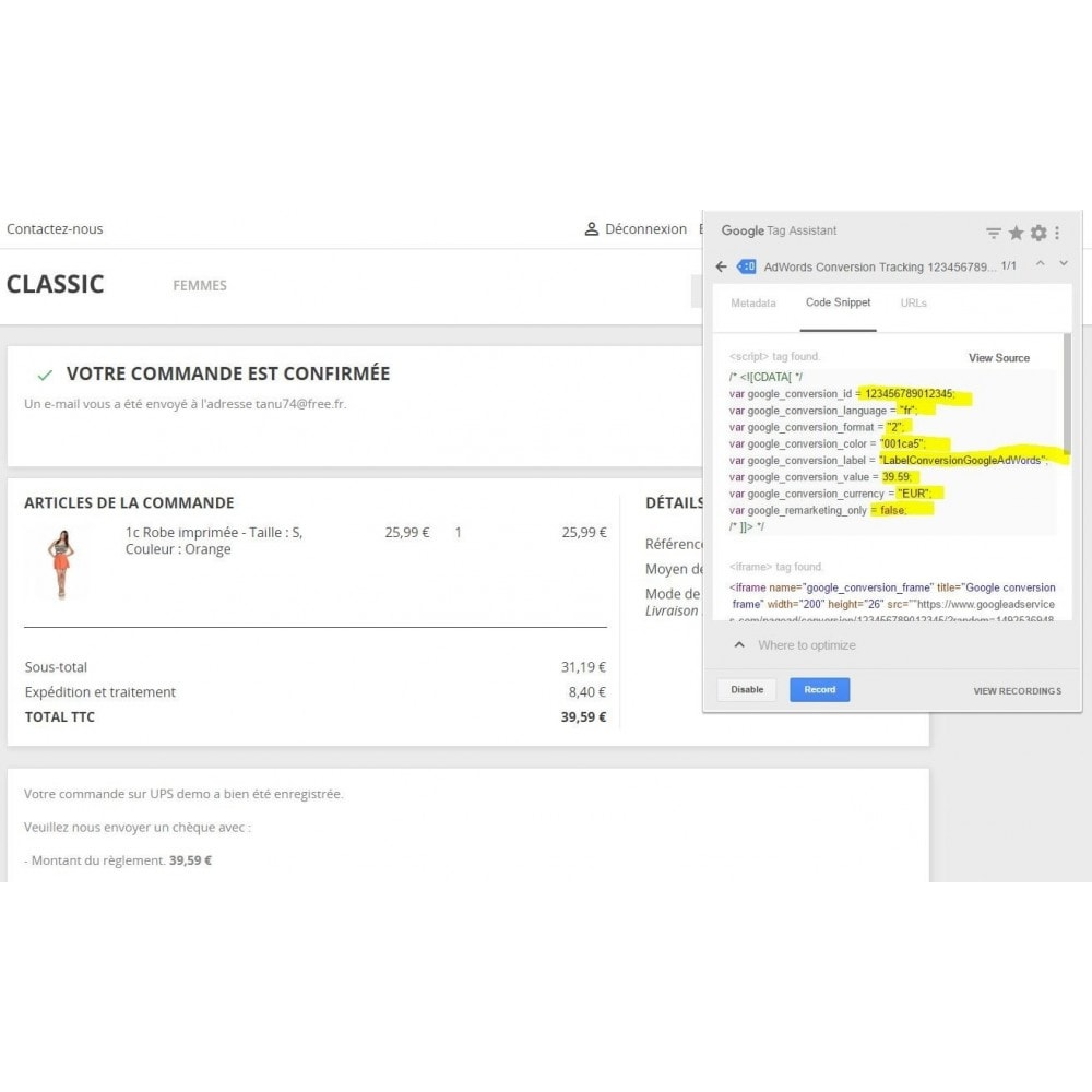module - Informes y Estadísticas - Conversion Tracking Codes for Google AdWords - 3