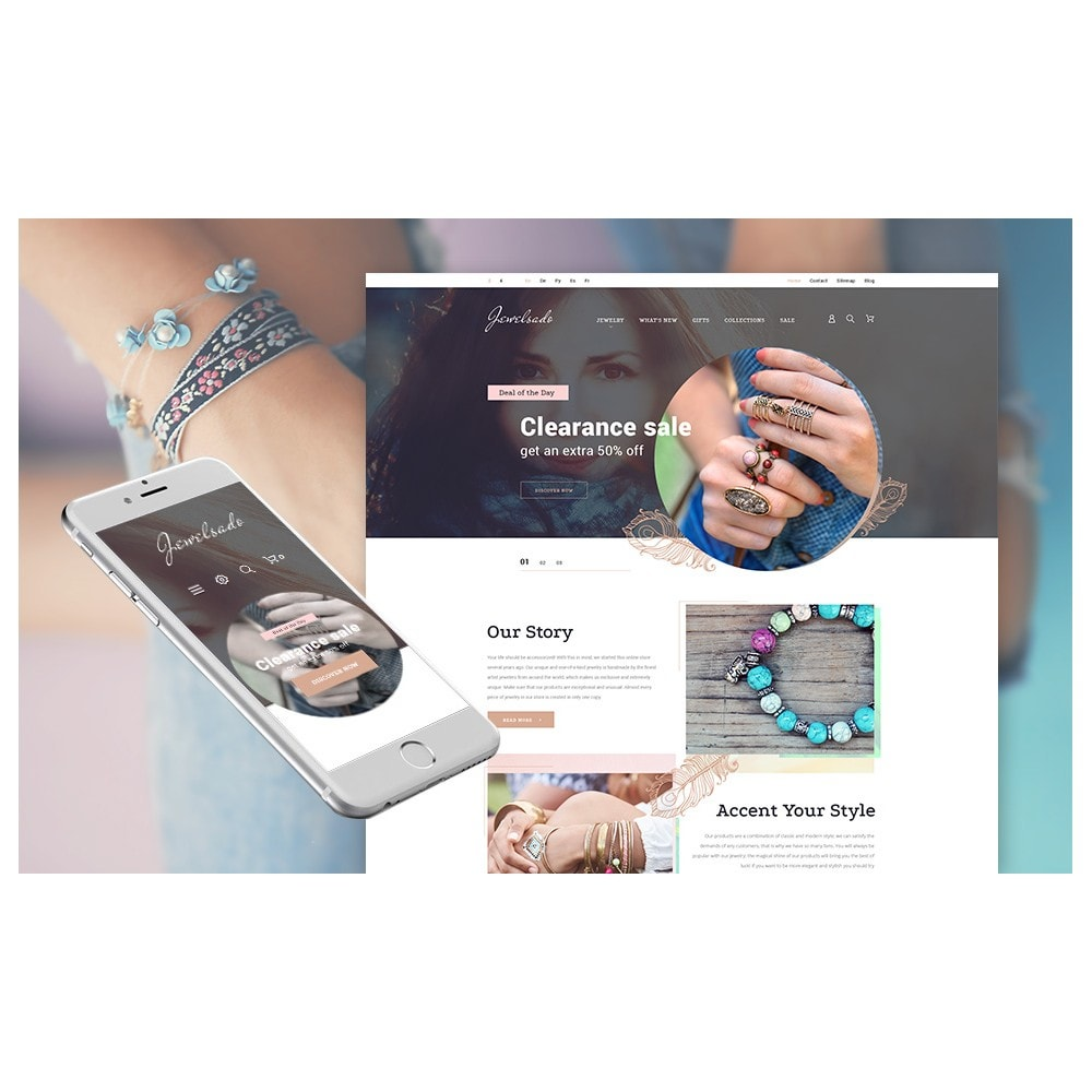 theme - Мода и обувь - White Jewelry PrestaShop Template by Jetimpex - 4