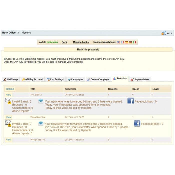 module - Newsletter y SMS - Newsletter & Estadísticas Mailchimp - 1.4 & 1.5 - 5