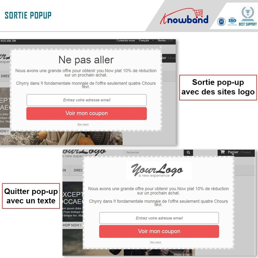 module - Remarketing & Paniers Abandonnés - Knowband - Pop-Up de Fermeture - 2