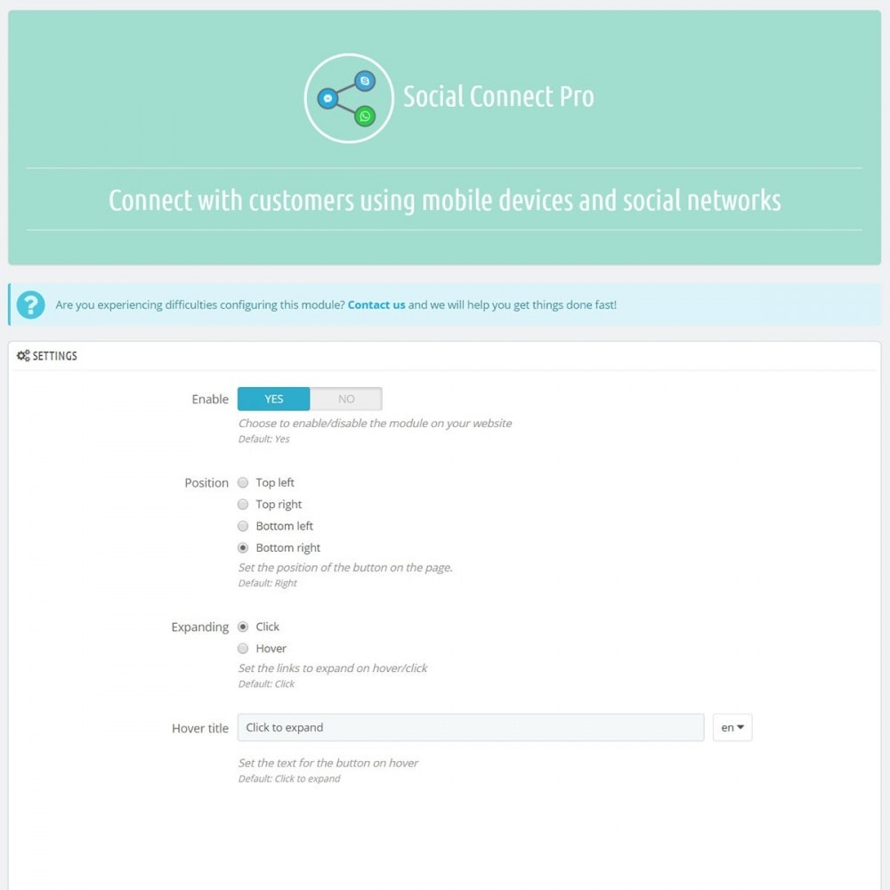 module - Ondersteuning & Online chat - Social Connect Pro - Fancy Social, Call and SMS Button - 3