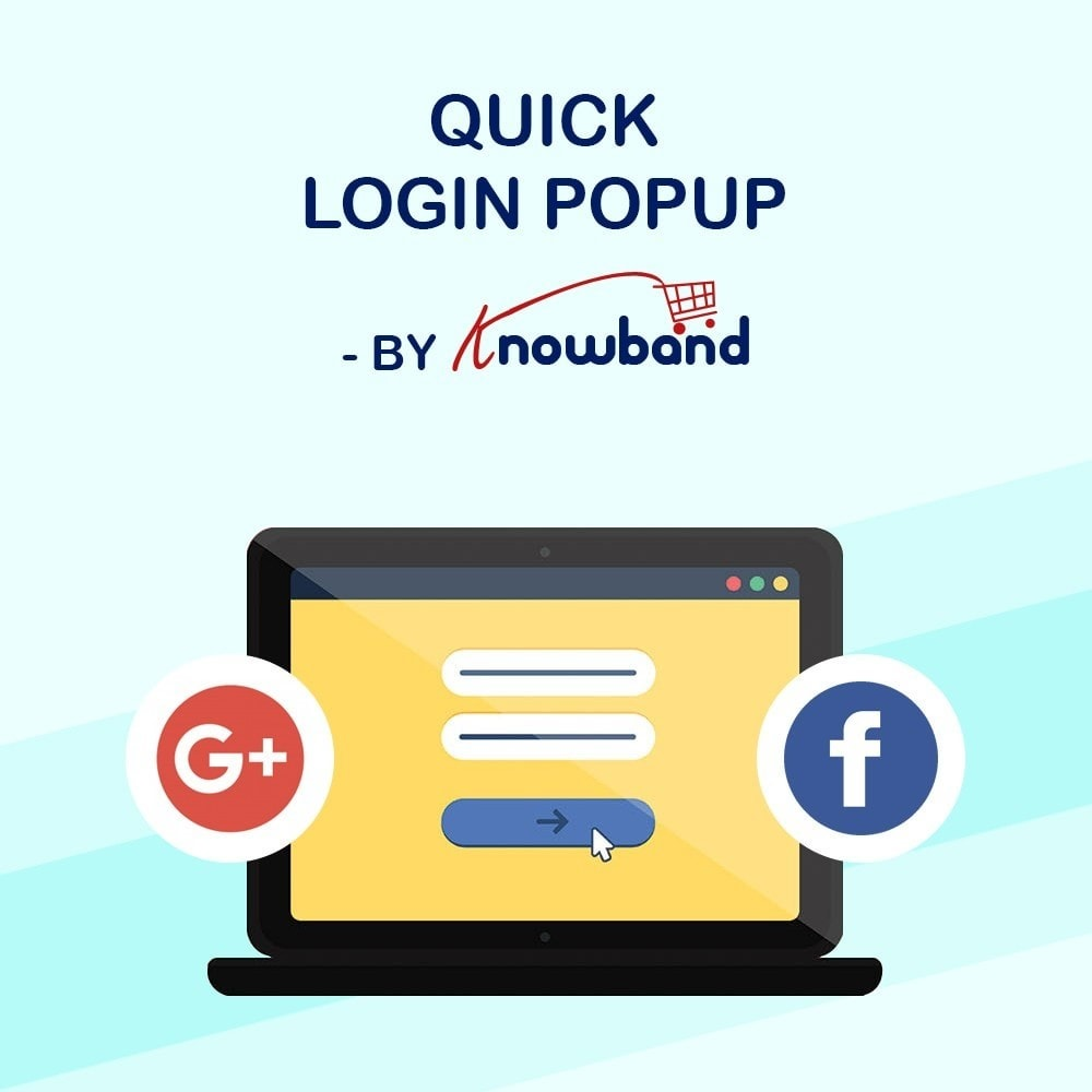 module - Módulos de Botões de Login & Connect - Knowband - Pop-up de Login Rápido (com Login Social) - 1