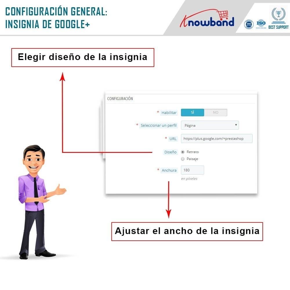 module - Widgets para redes sociales - Knowband - Insignia de Google Plus - 5
