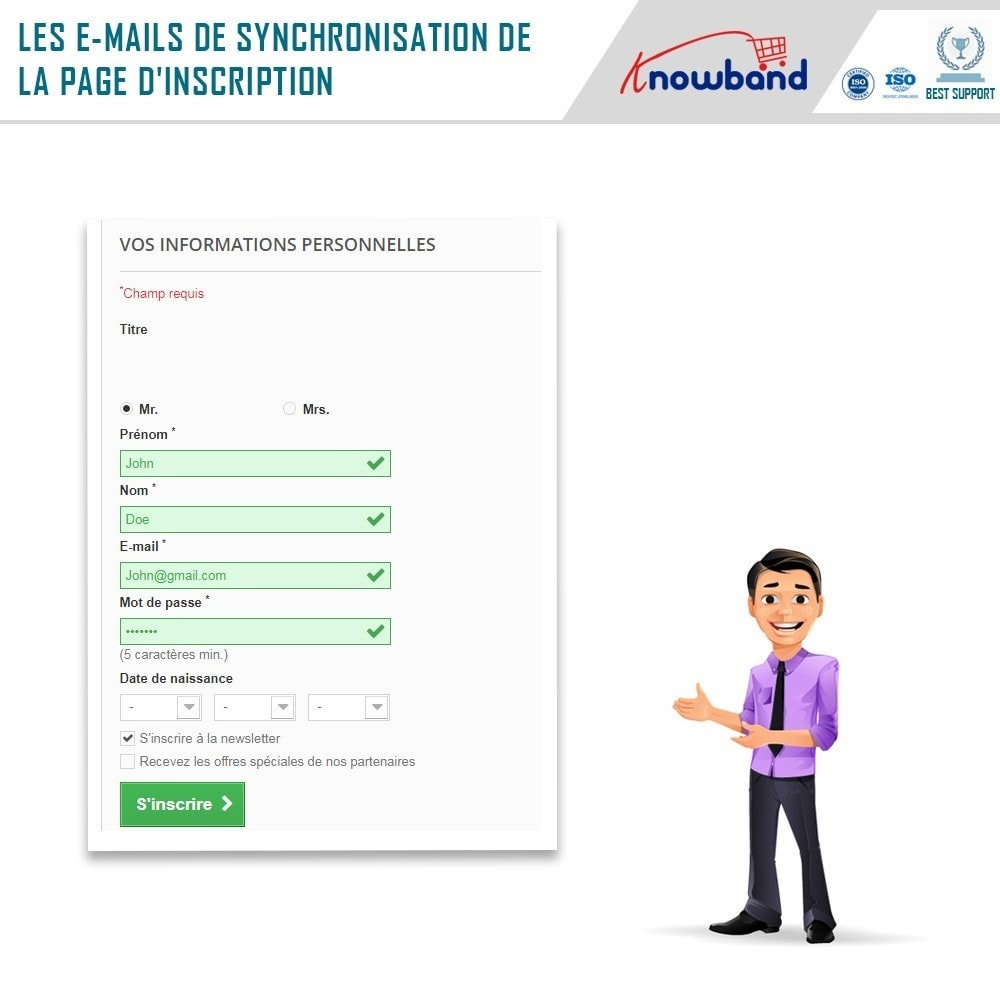 module - Newsletter & SMS - Knowband - Intégrateur Mailigen et MailChimp - 3