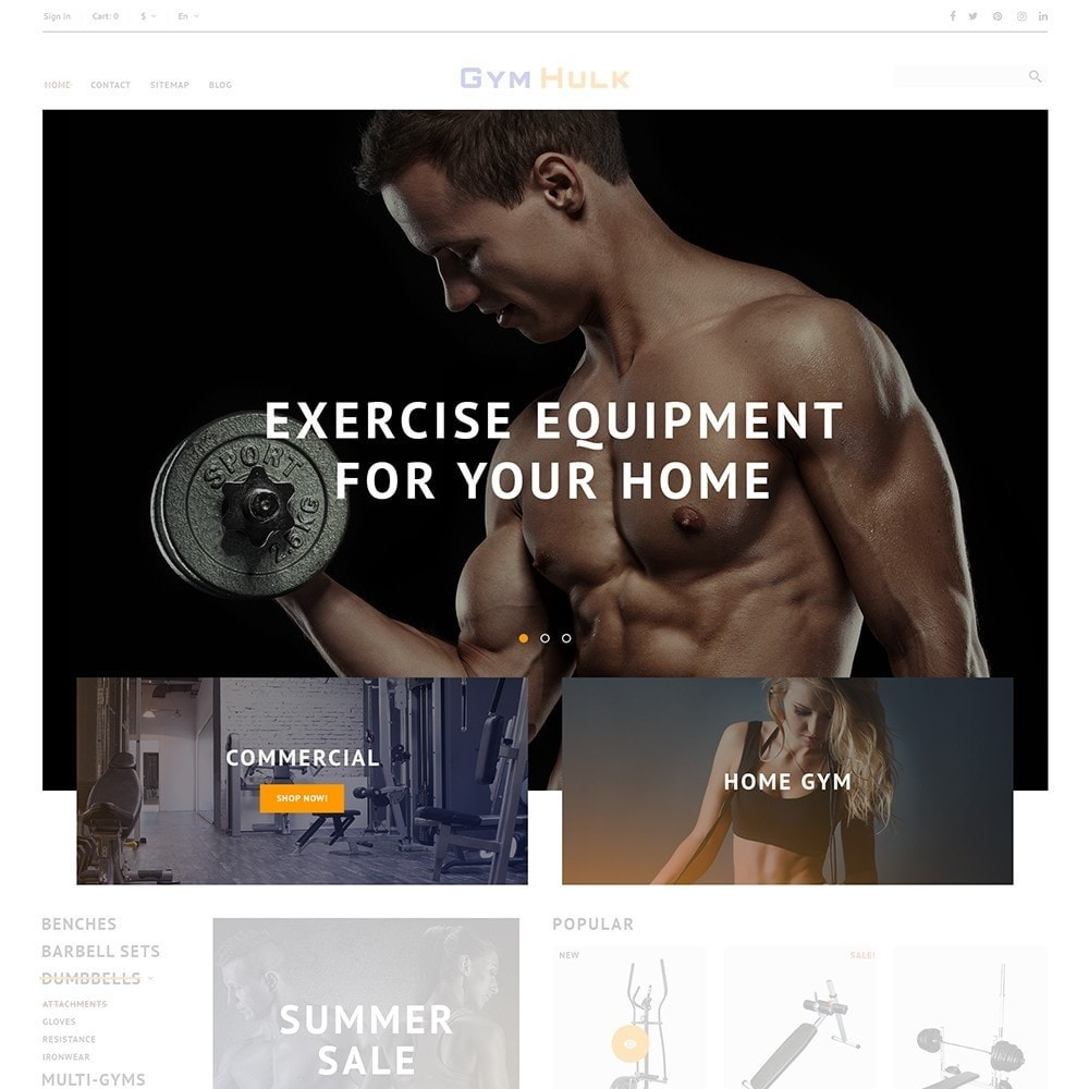 theme - Sports, Activities & Travel - GymHulk - Gym Equipment - 4