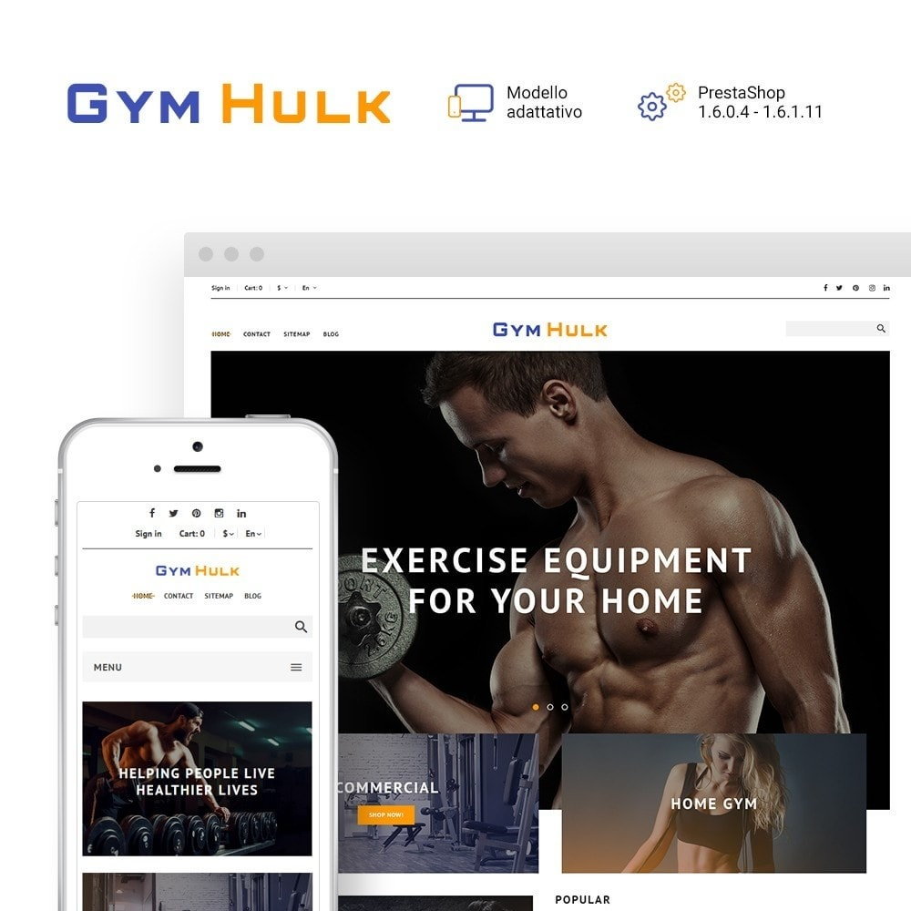 GymHulk - Attrezzature da Palestra PrestaShop Template