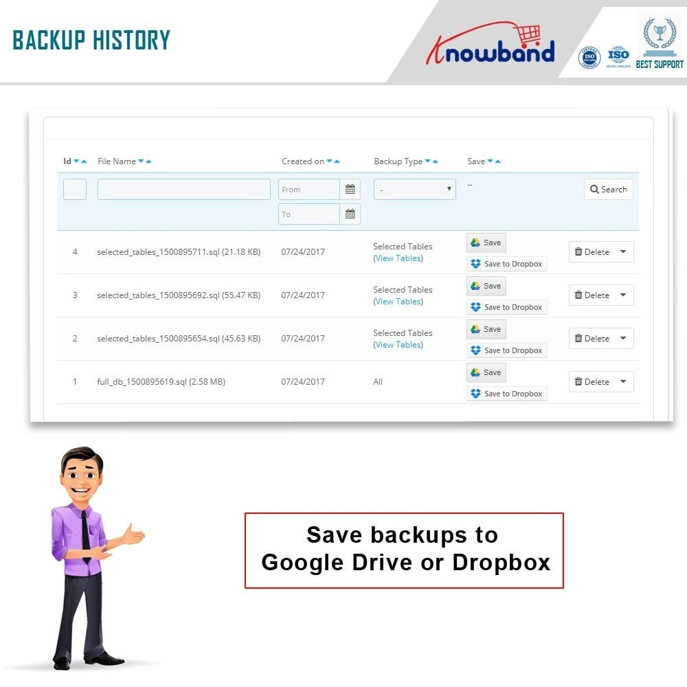 module - Migracja & Backup - Knowband - EasyDB Backup Manager - 5