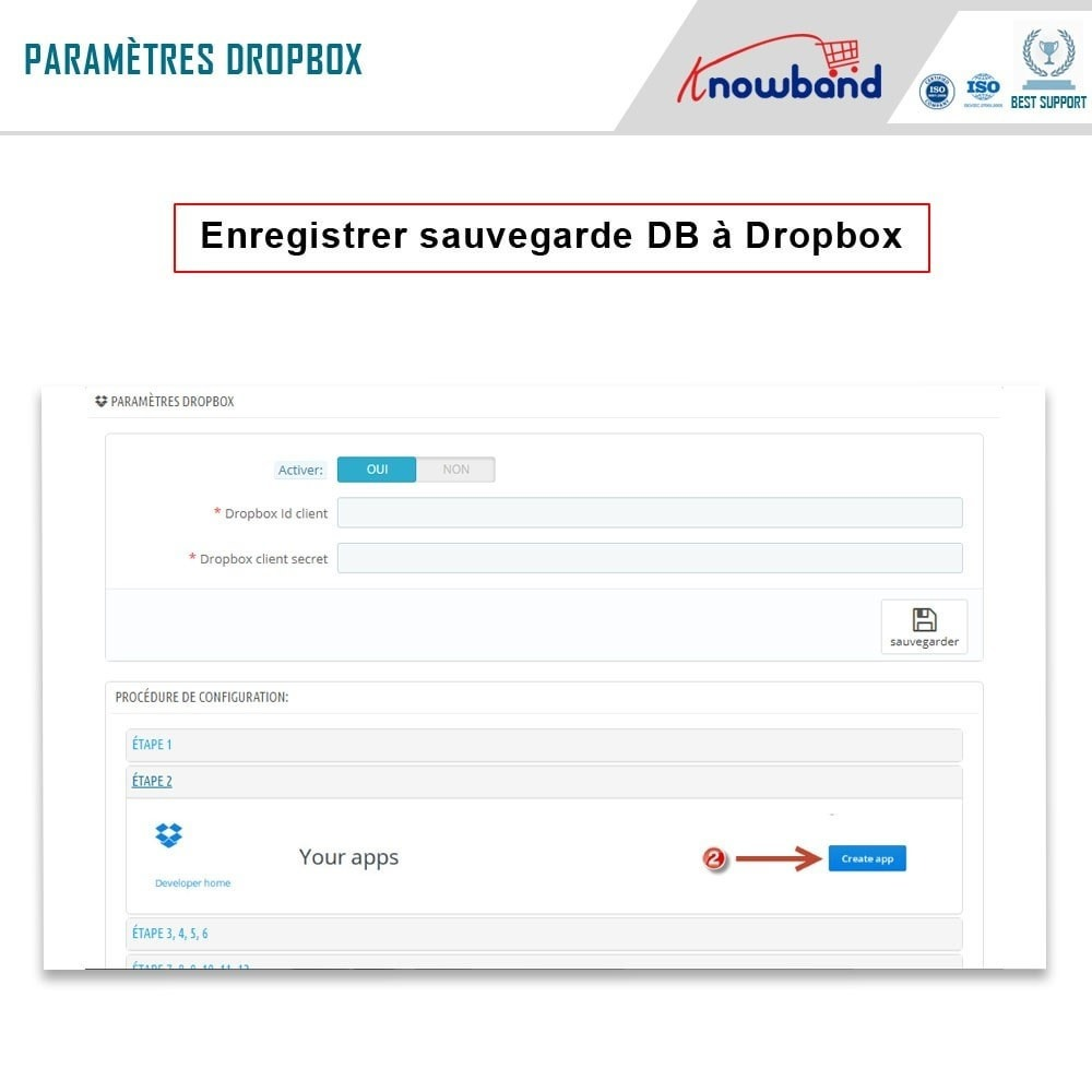 module - Migration de Données & Sauvegarde - Knowband - Gestionnaire de Sauvegarde facile de BDD - 4