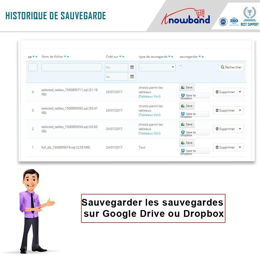 module - Migration de Données & Sauvegarde - Knowband - Gestionnaire de Sauvegarde facile de BDD - 5