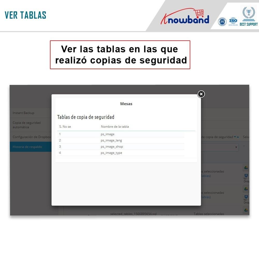module - Migración y Copias de seguridad - Knowband - Administrador de copia de seguridad EasyDB - 6