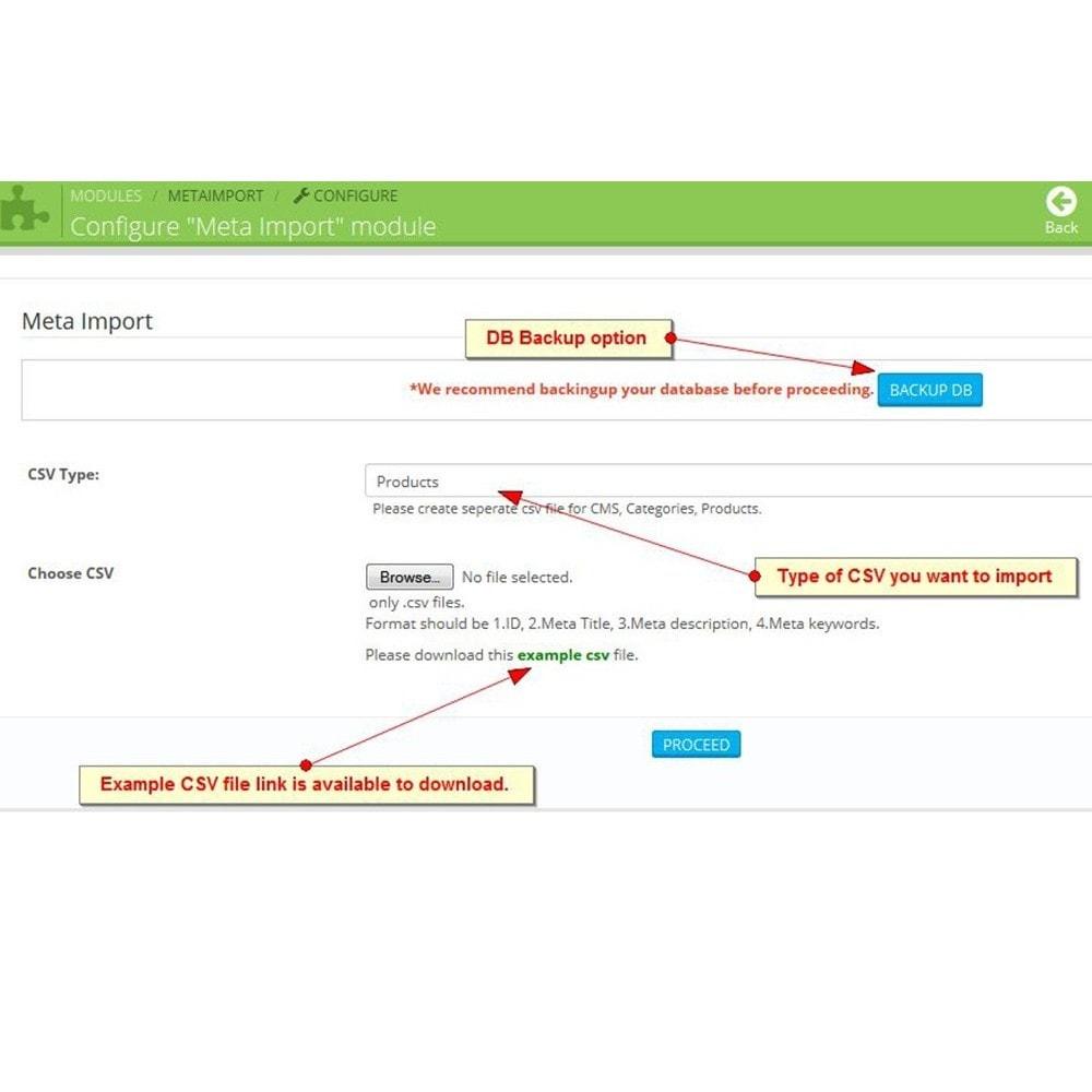 module - SEO (Indicizzazione naturale) - Tag SEO, Importazione di meta tag - 3