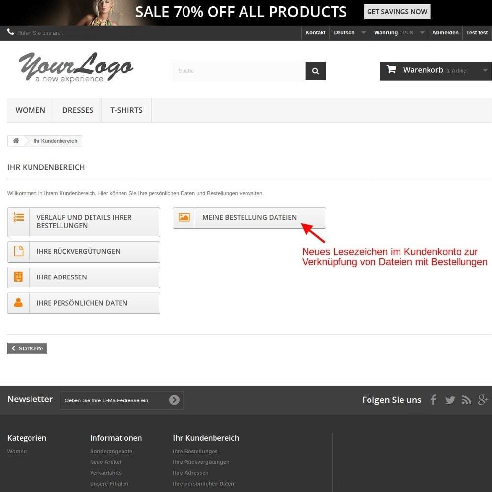 module - Anmeldung und Bestellvorgang - Bestellungsdateien Dateien mit Bestellungen verknüpfen - 1
