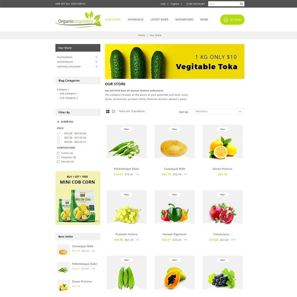 theme - Alimentos & Restaurantes - Organic Vegetable Store - 3