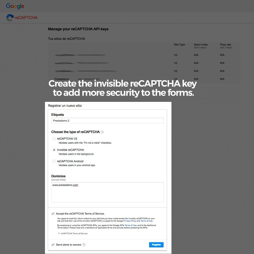 module - Security & Access - Add Google reCAPTCHA to store forms - 8