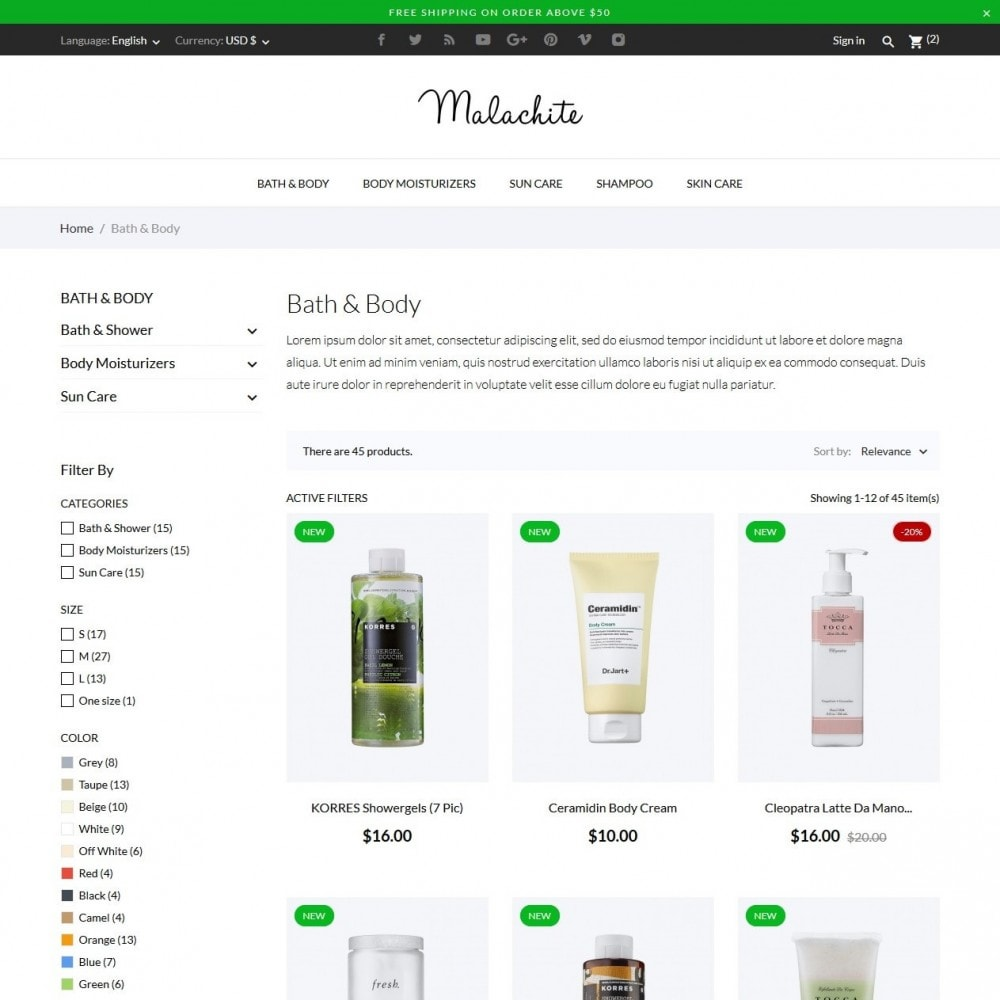 theme - Salute & Bellezza - Malachite Cosmetics - 5
