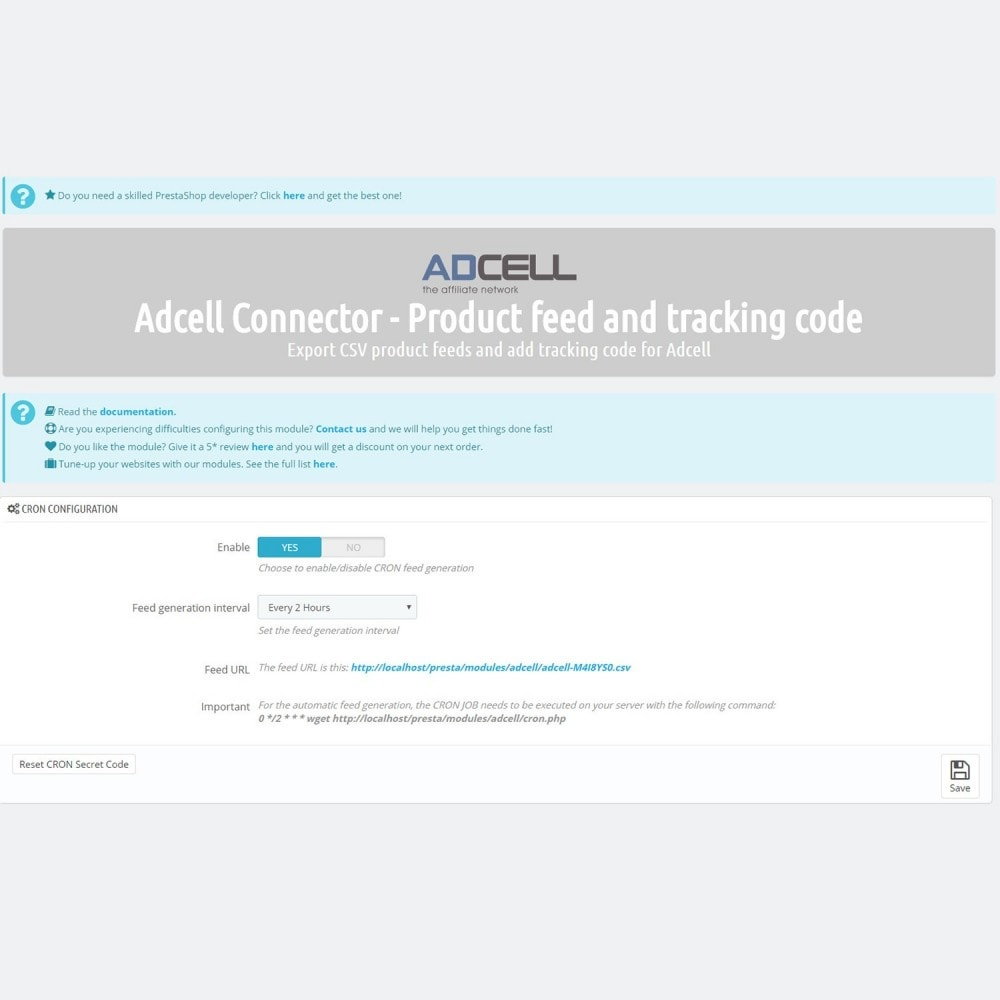 module - Data Integraties (CRM, ERP...) - Adcell Connector - Product feed and tracking code - 4