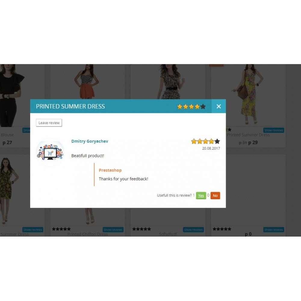 module - Opiniões de clientes - Reviews about product in category and product page - 2