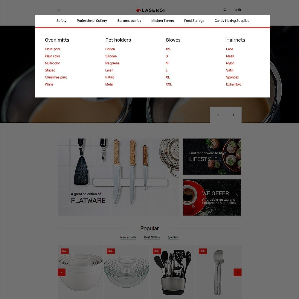 theme - Food & Restaurant - Glasergi - Cookware & Appliances PrestaShop Theme - 4