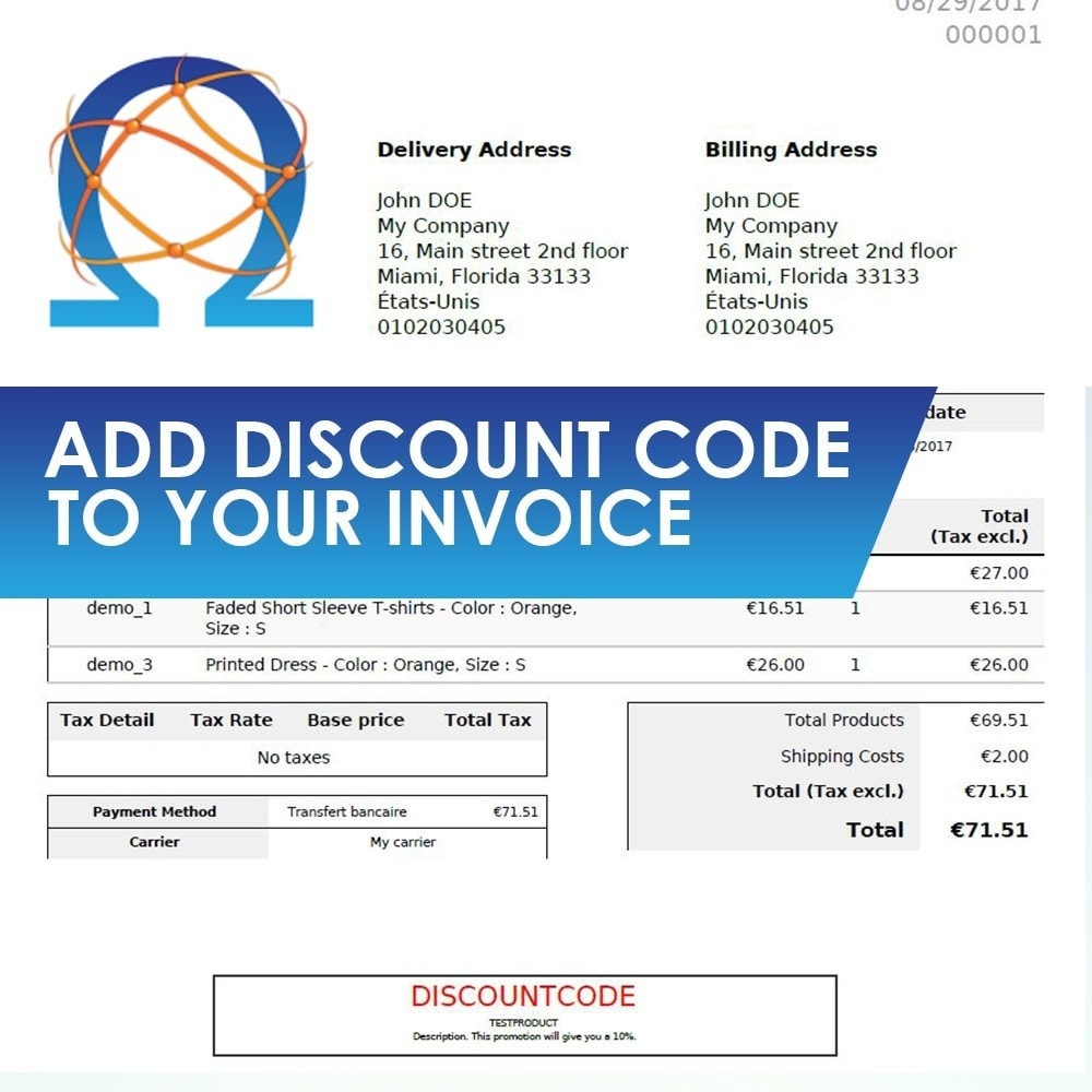 module - Social Network Coupon - Add Discount Code in Invoice - 1