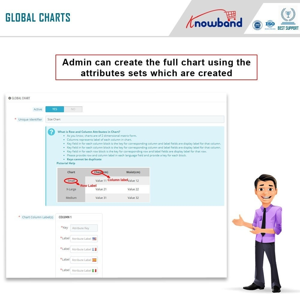 module - Altre informazioni & Product Tab - Knowband - Product size chart - 4