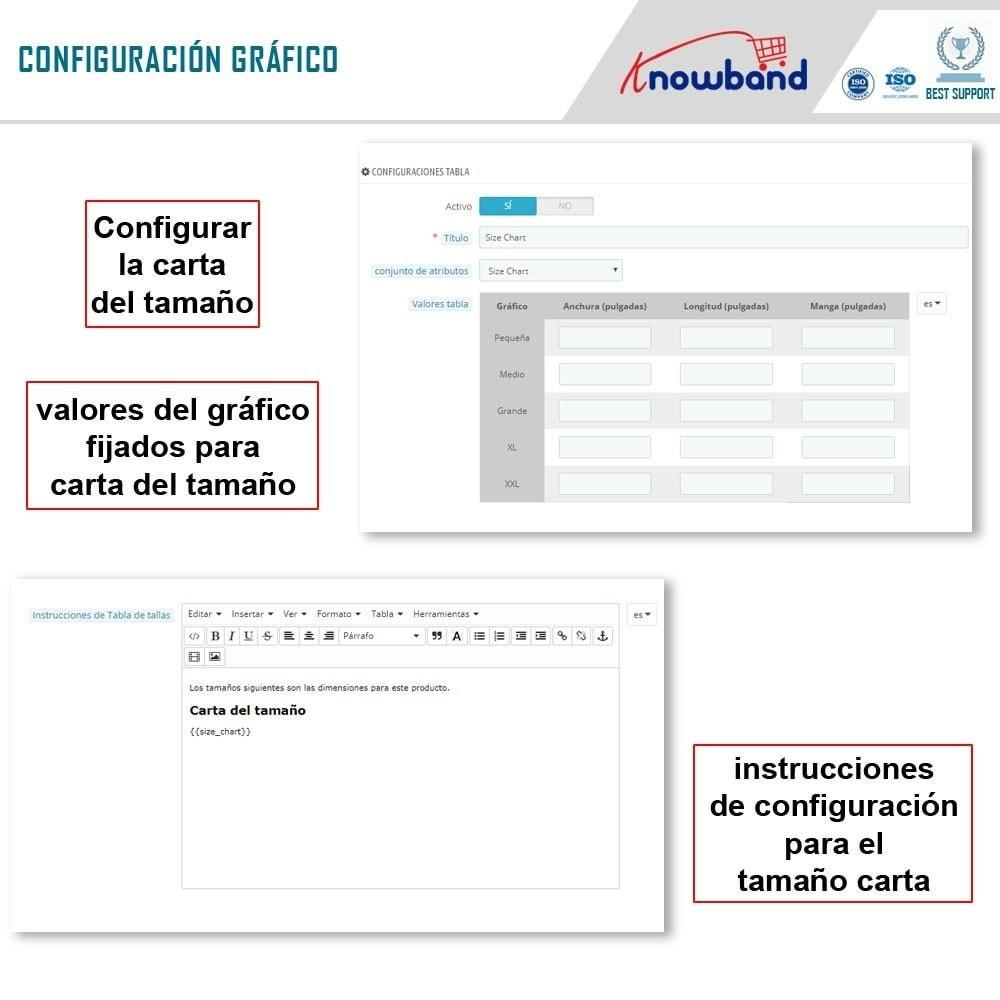 module - Informaciones adicionales y Pestañas - Knowband - Tabla de tallas del producto - 6