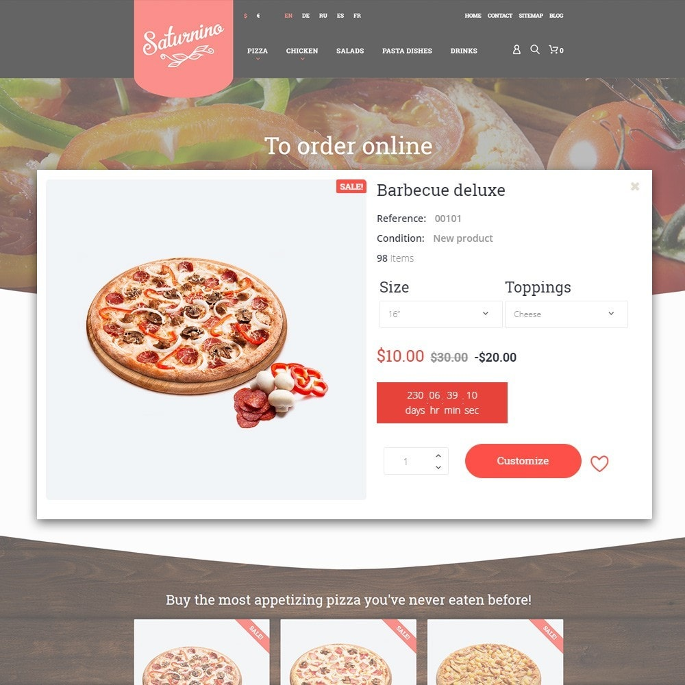 theme - Gastronomía y Restauración - Tema de PrestaShop para Sitio de Pizzerías - 7