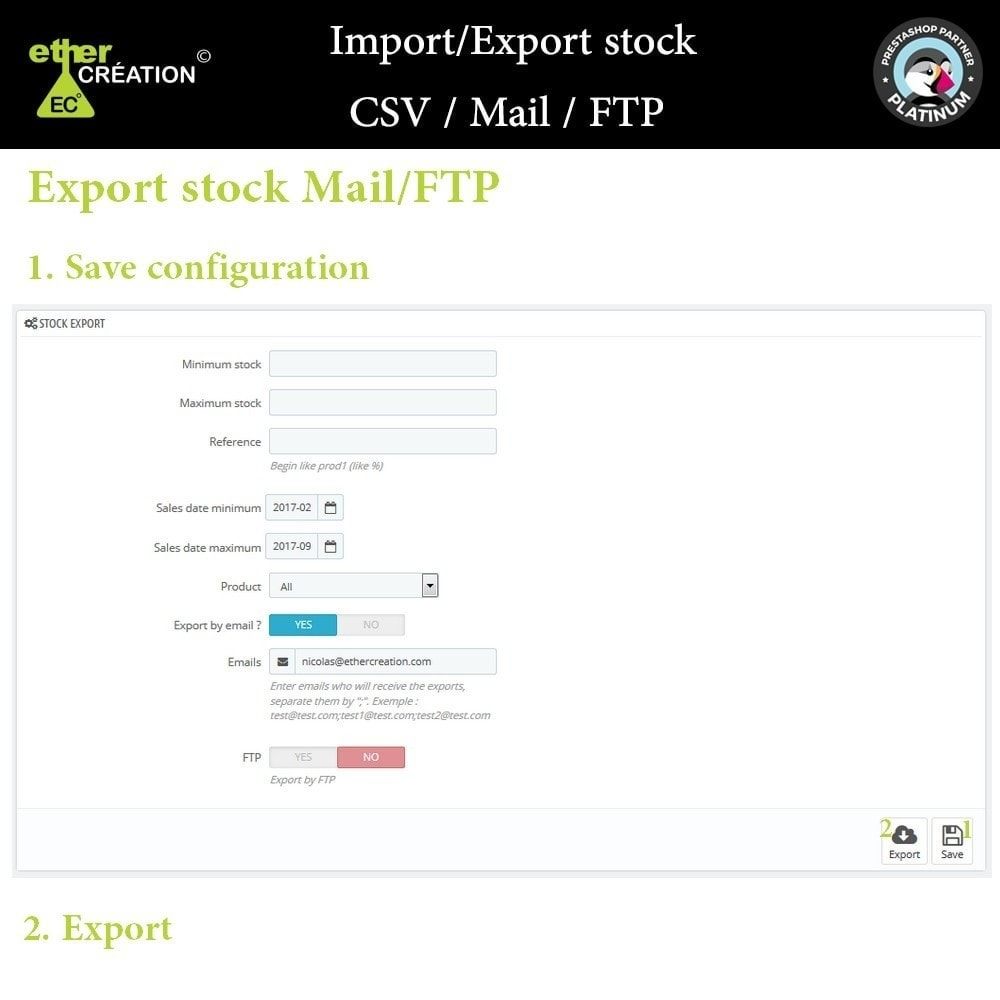 module - Data Import & Export - Import / Export stock CSV / Mail / FTP - 2