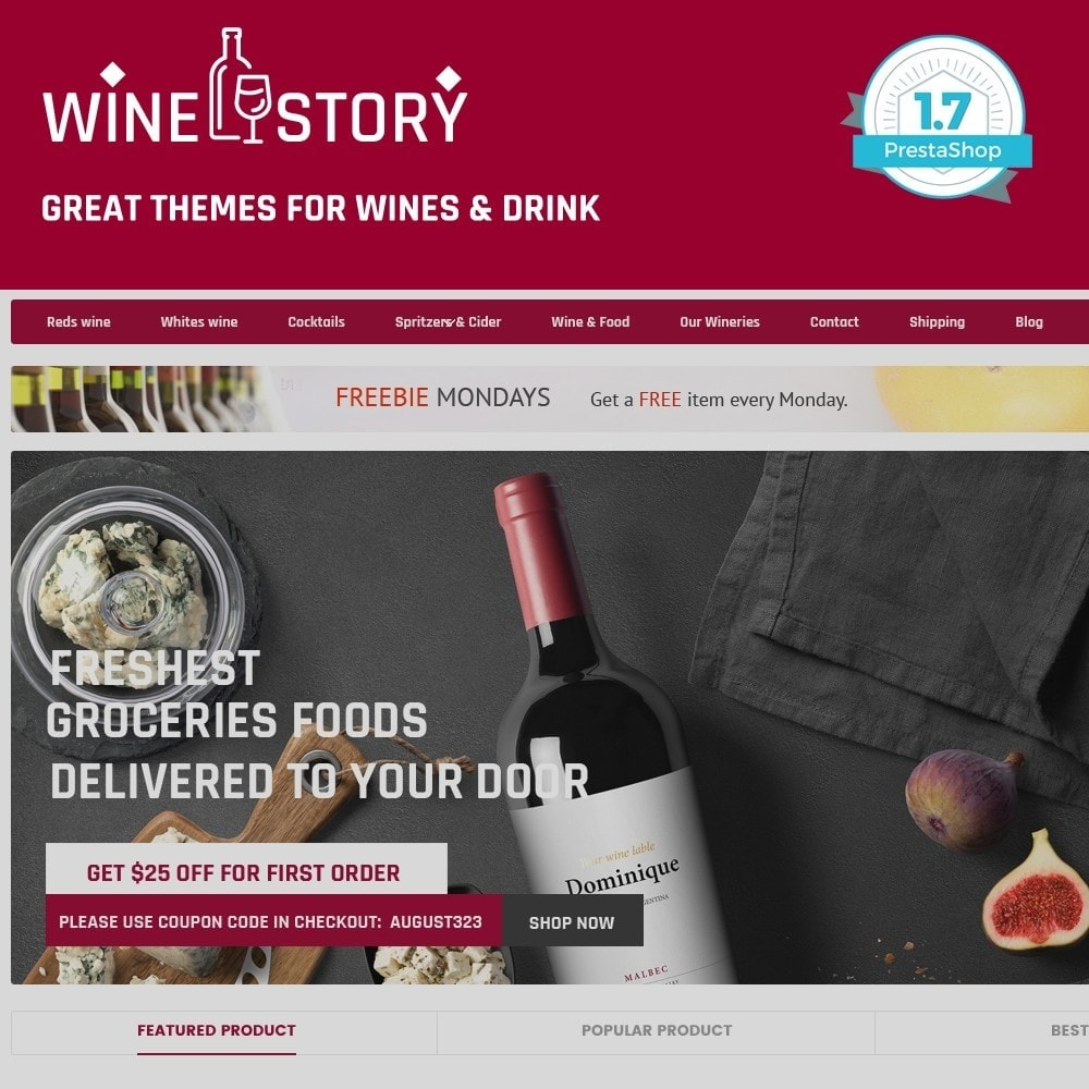 theme - Boissons & Tabac - Wine & Drink & Restaurant - smart responsive store - 1