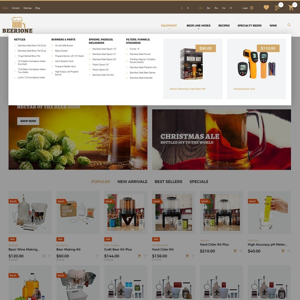 theme - PrestaShop Templates - Beerione - Brewing Equipment Store PrestaShop Theme - 4