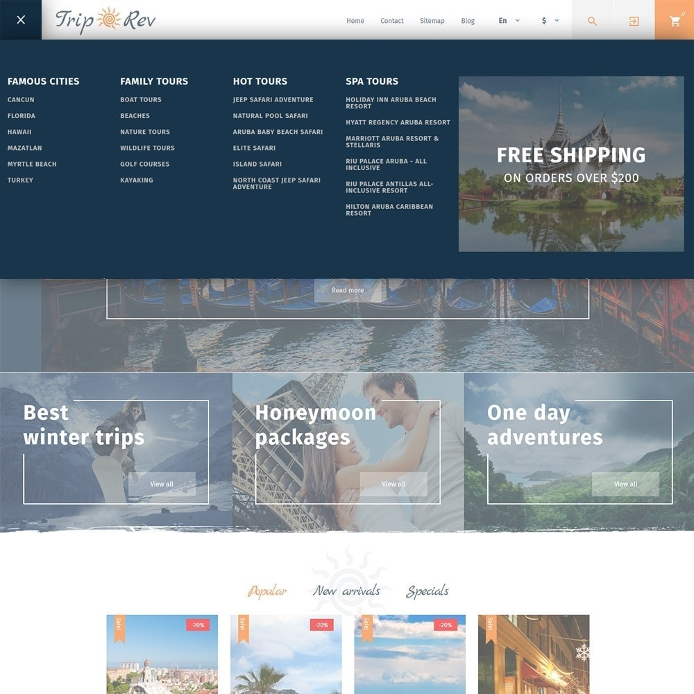 theme - Sport, Attività & Viaggi - TripRev - Modello PrestaShop per Un Sito di Viaggi - 7