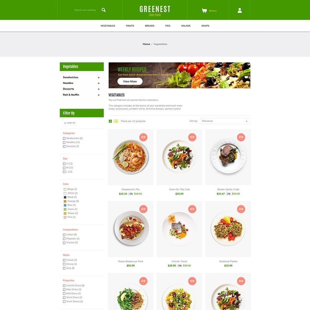 theme - Food & Restaurant - Greenest - Food Store - 3
