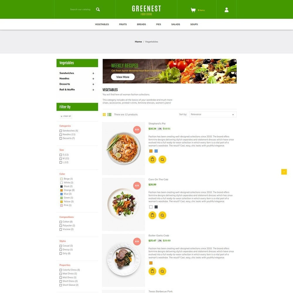 theme - Food & Restaurant - Greenest - Food Store - 4